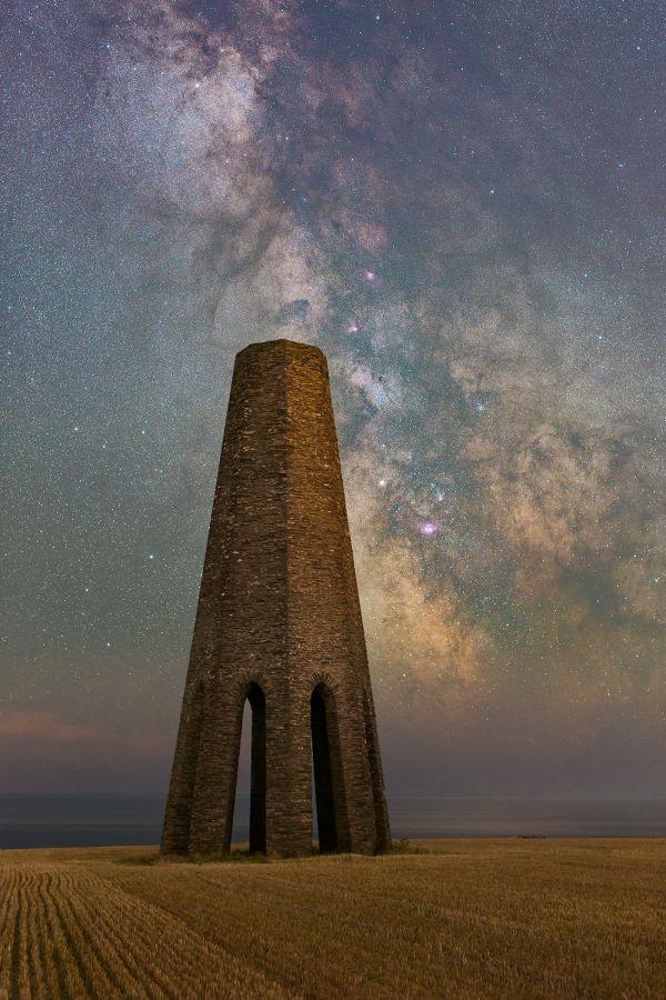 Milkyway Rising over Daymark Tower in South Devon